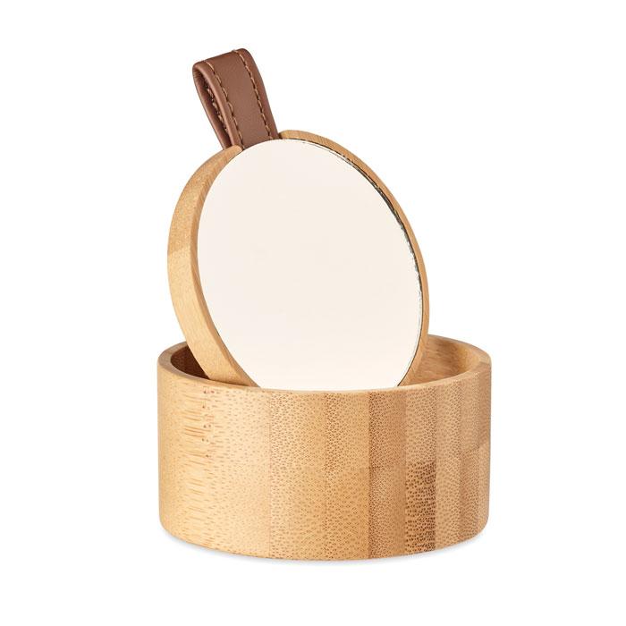 Petite boîte à bijoux publicitaire en bambou avec miroir Treasure 1