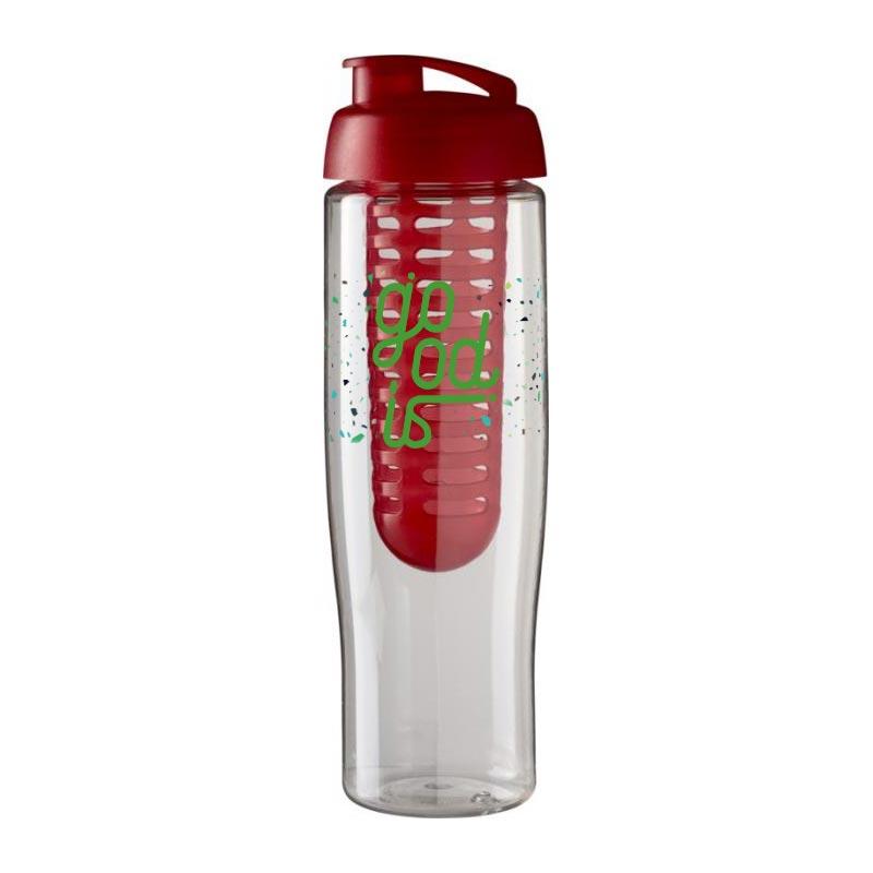Bouteille de sport publicitaire et infuseur H2O Tempo® 700 ml à clapet - rouge