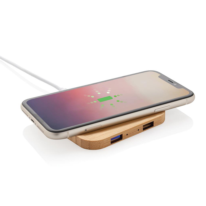 Chargeur à induction publicitaire 5W et double port USB en bambou telephone