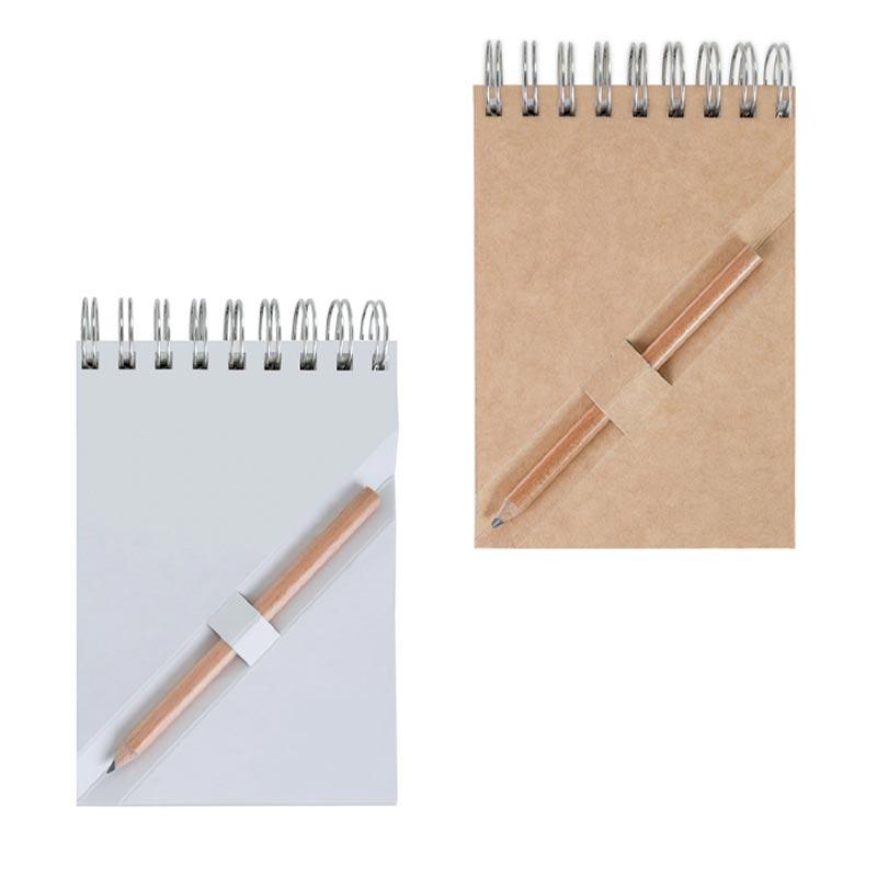 Bloc-notes publicitaire A7 en recyclé avec crayon agenda Ecopaper - Coloris disponibles