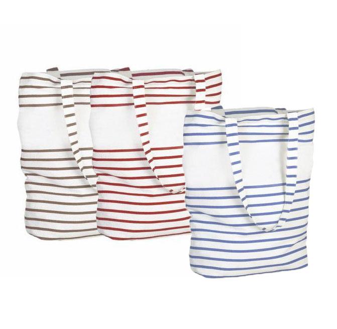 Sac shopping publicitaire en coton Sabledor à rayures - Sac shopping personnalisable