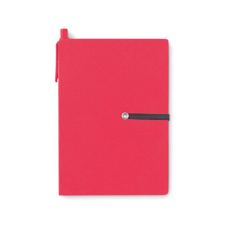 Carnet recyclé ligné et stylo Reconote - rouge