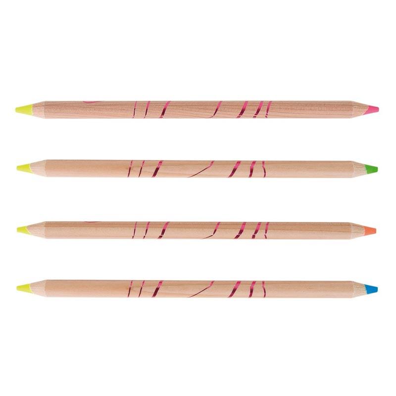 Crayons publicitaires surligneur fluo en bois 17,6 cm Bi-coul
