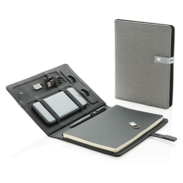 Cadeau d'entreprise - Housse publicitaire à carnet de notes A5 avec powerbank et clé USB Kyoto