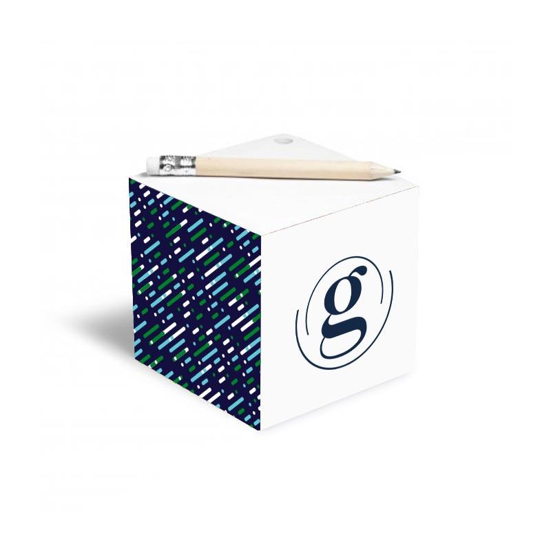 Bloc-notes publicitaire cube avec crayon à papier