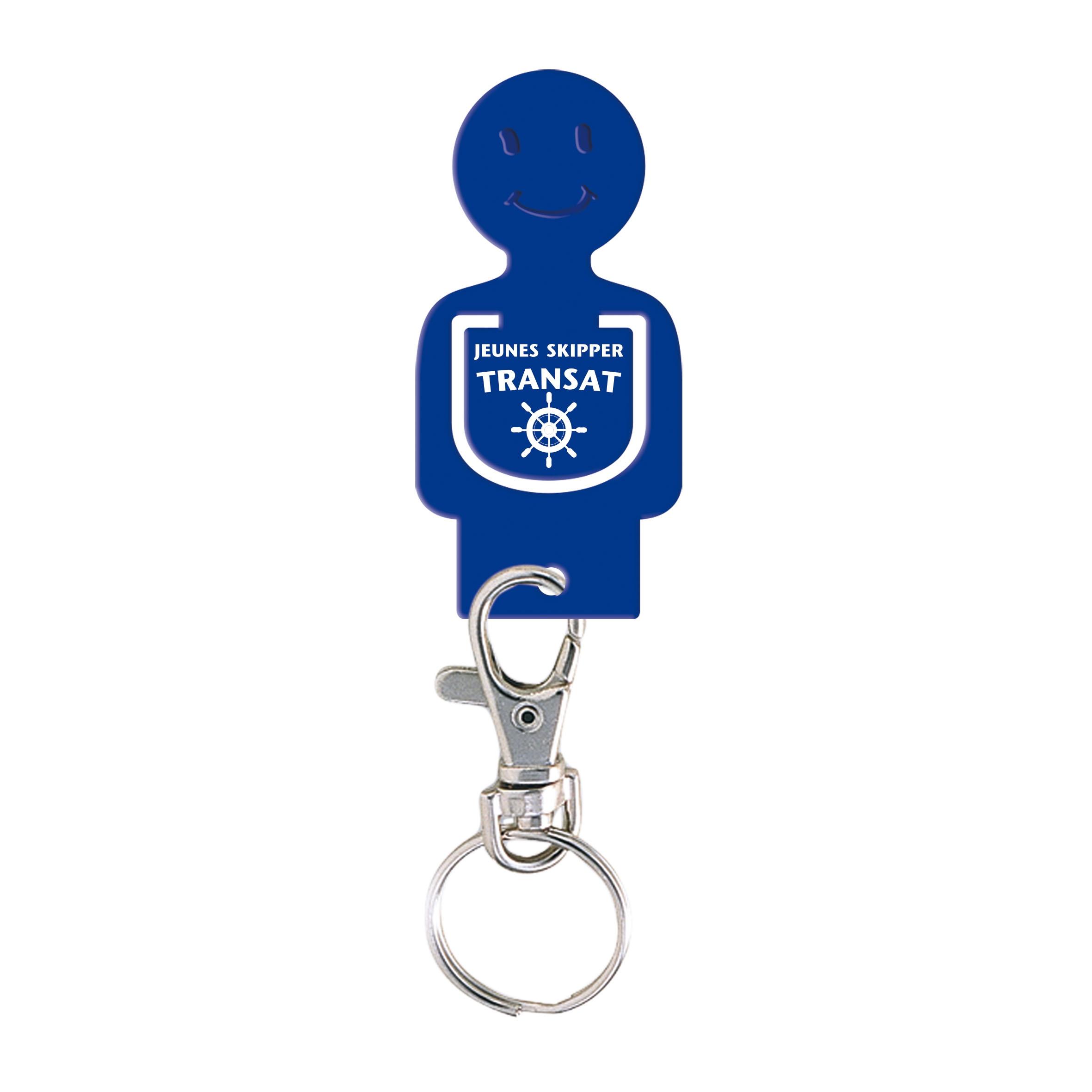 Porte-clés personnalisable jeton caddie Figurine - Goodies salon - bleu