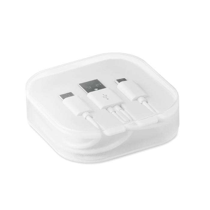 Accessoire publicitaire high-tech - Câble A-B-C dans une boîte Connecti - blanc