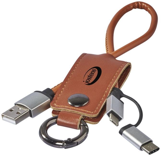Câble de chargement publicitaire 3 en 1 Posh marron
