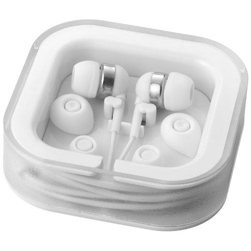 Écouteurs publicitaire Sargas blanc avec micro - Cadeau publicitaire
