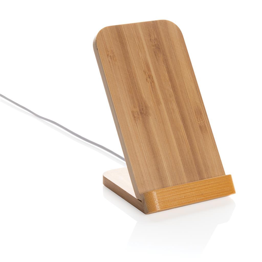 Support avec chargeur à induction publicitaire en bambou 5W 1