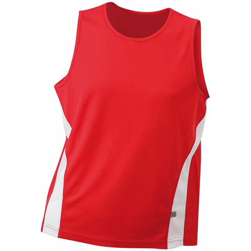 Tee-shirt promotionnel sans manches pour homme Running Topcool rouge/blanc