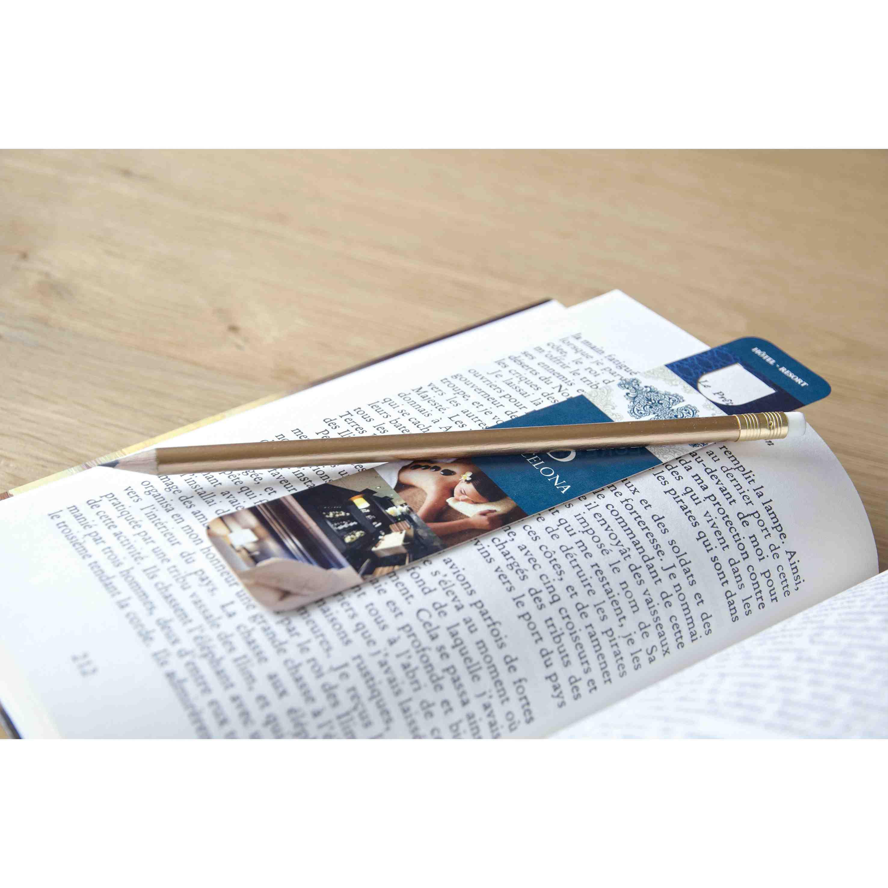 kit de papeterie publicitaire écolo - crayon papier pantone et marque-page 19 cm Panty