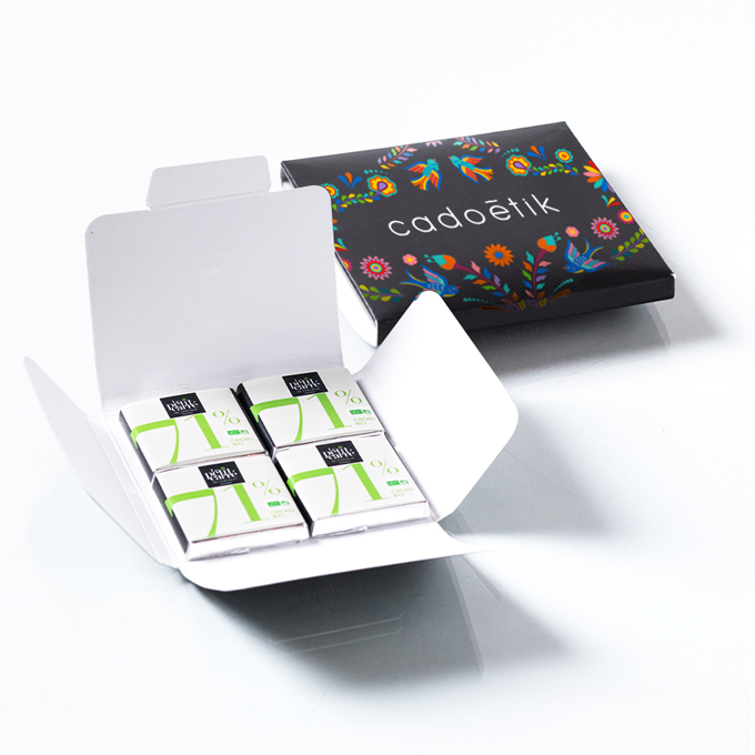 Carte personnalisable 4 carrés de chocolat bio