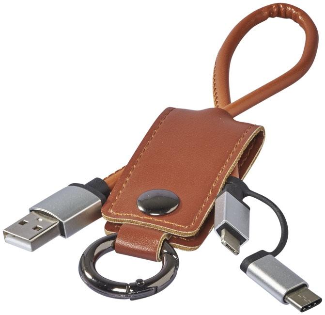 Câble de chargement publicitaire 3 en 1 Posh - porte-clés personnalisable