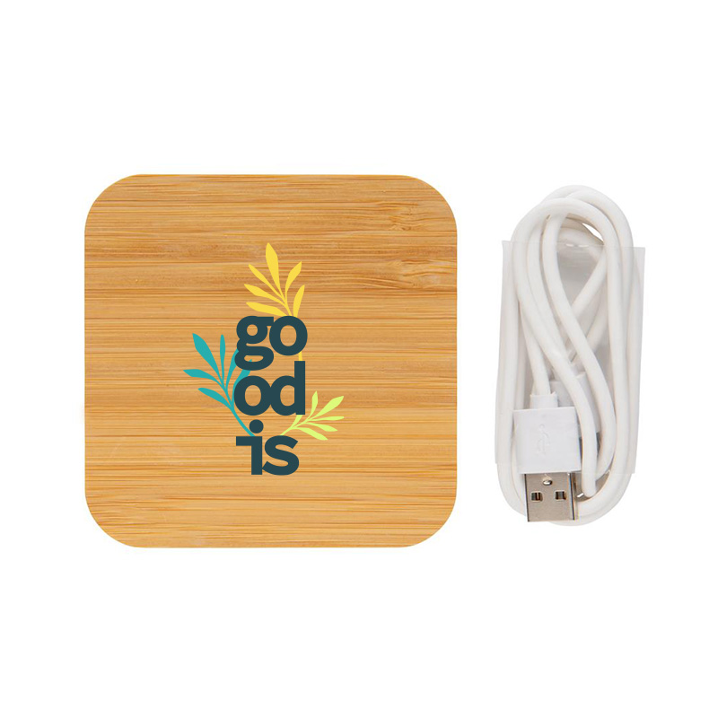 Chargeur à induction publicitaire 5W et double port USB en bambou cable