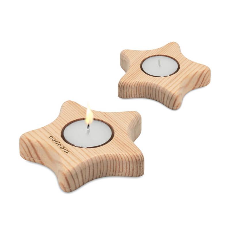 Bougeoir étoile en bois Teastar