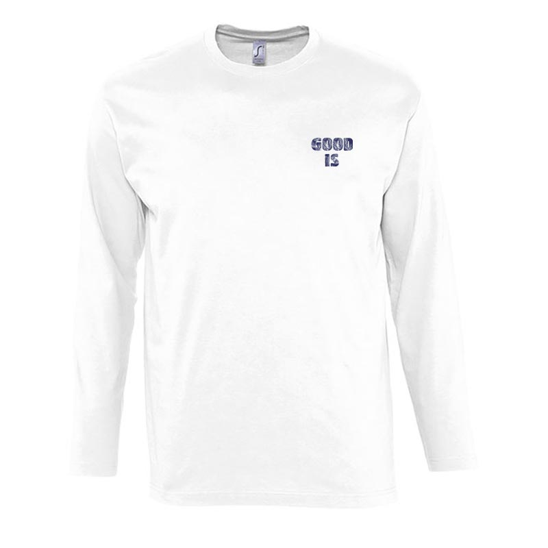 T-shirt blanc en coton et manches longues Monach