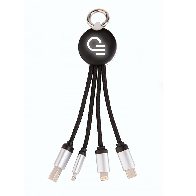 Objet publicitaire logo lumineux - Set de câbles publicitaires Ring