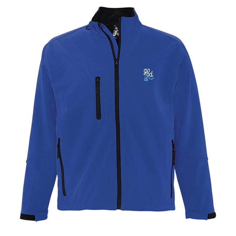 Veste softshell publicitaire zippée homme Relax - Coloris bleu