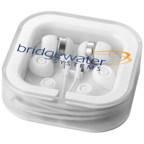 Écouteurs publicitaire Sargas noir  avec micro - Cadeau publicitaire