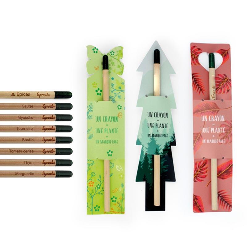 Crayon à planter publicitaire avec marque-page à la découpe