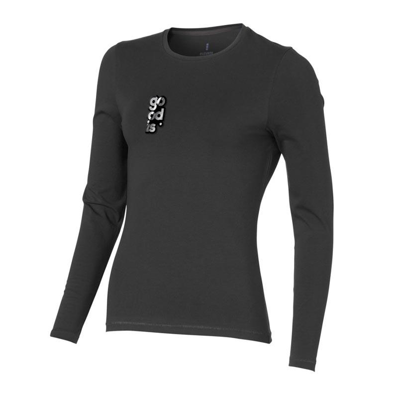 T-shirt bio publicitaire pour femmes manches longues Ponoka  gris - t-shirt coton biologique