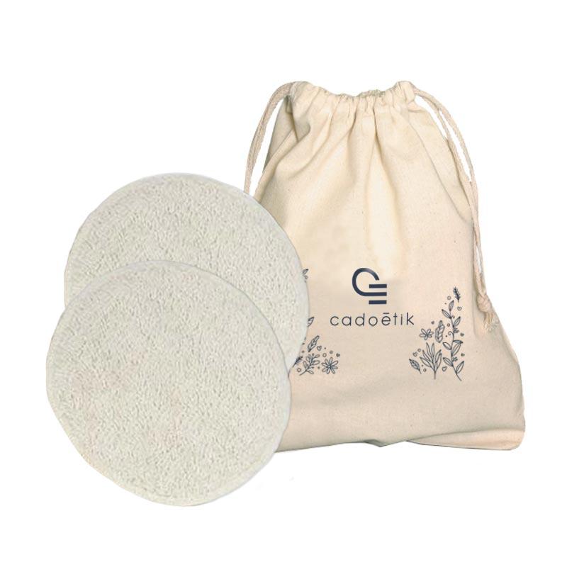 Pochette en coton bio avec disques démaquillants en coton éponge
