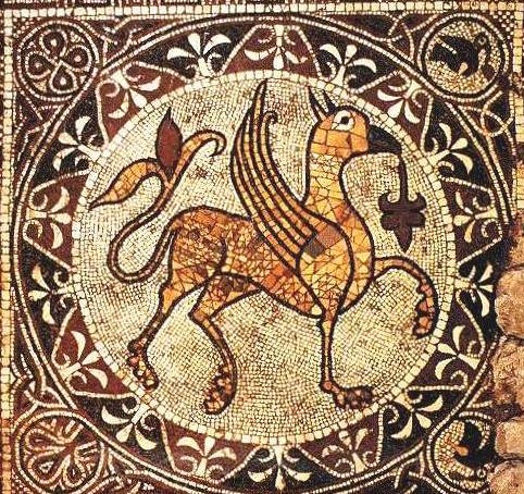 Opinicus en mosaïque, art byzantin