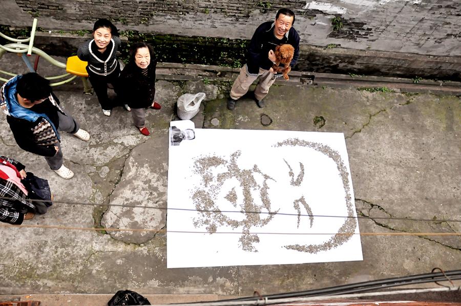 Portrait en graines de Tournesol par Hong Yi