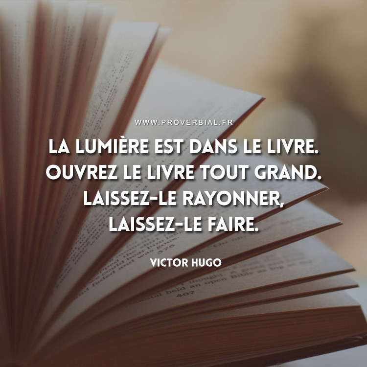 La lumière est dans le livre. Ouvrez le livre tout grand. Laissez-le rayonner, laissez-le faire.