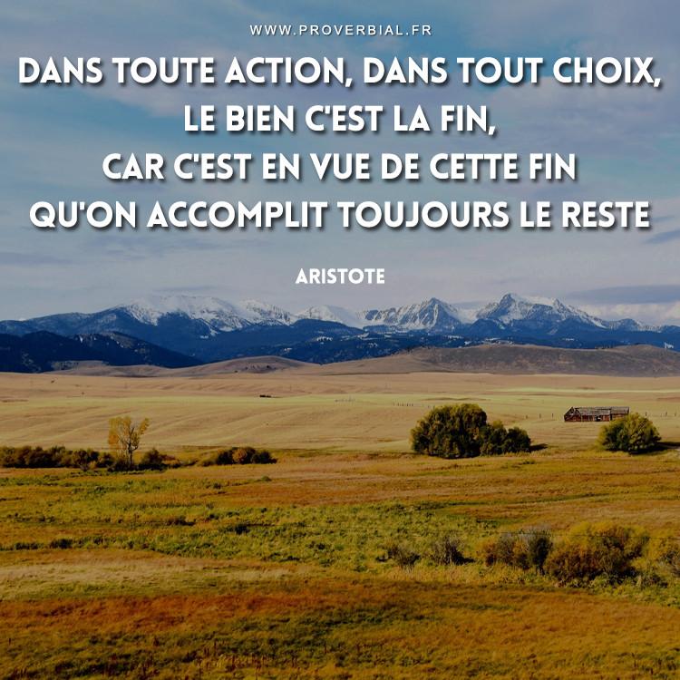 Dans toute action, dans tout choix, le bien c'est la fin, car c'est en vue de cette fin qu'on accomplit toujours le reste.