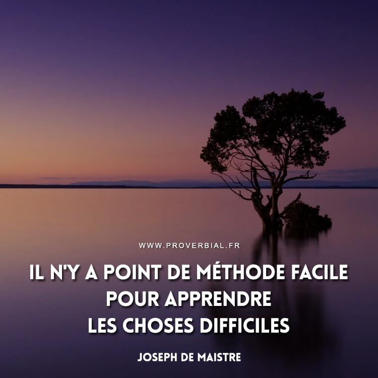 Il n'y a point de méthode facile pour apprendre les choses difficiles.