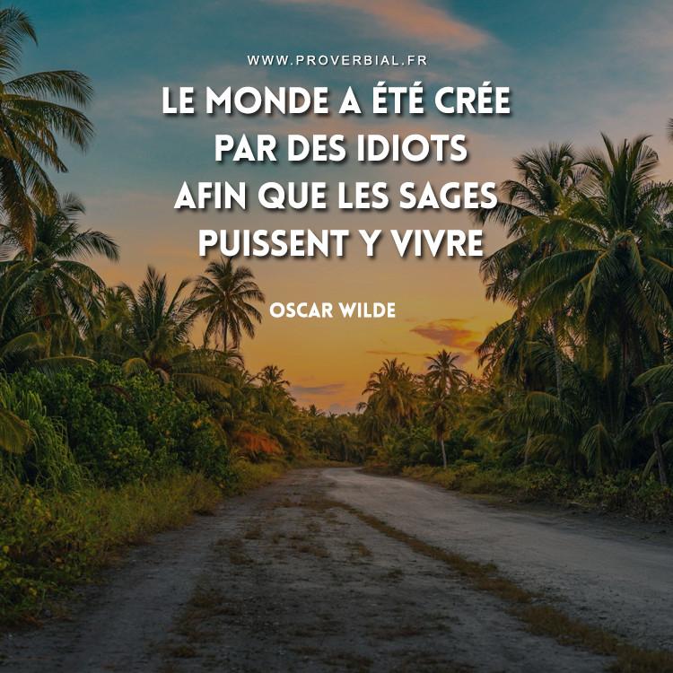 Le monde a été crée par des idiots afin que les sages puissent y vivre.