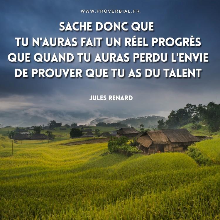 Sache donc que tu n'auras fait un réel progrès que quand tu auras perdu l'envie de prouver que tu as du talent.