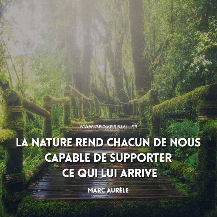 La nature rend chacun de nous capable de supporter ce qui lui arrive.