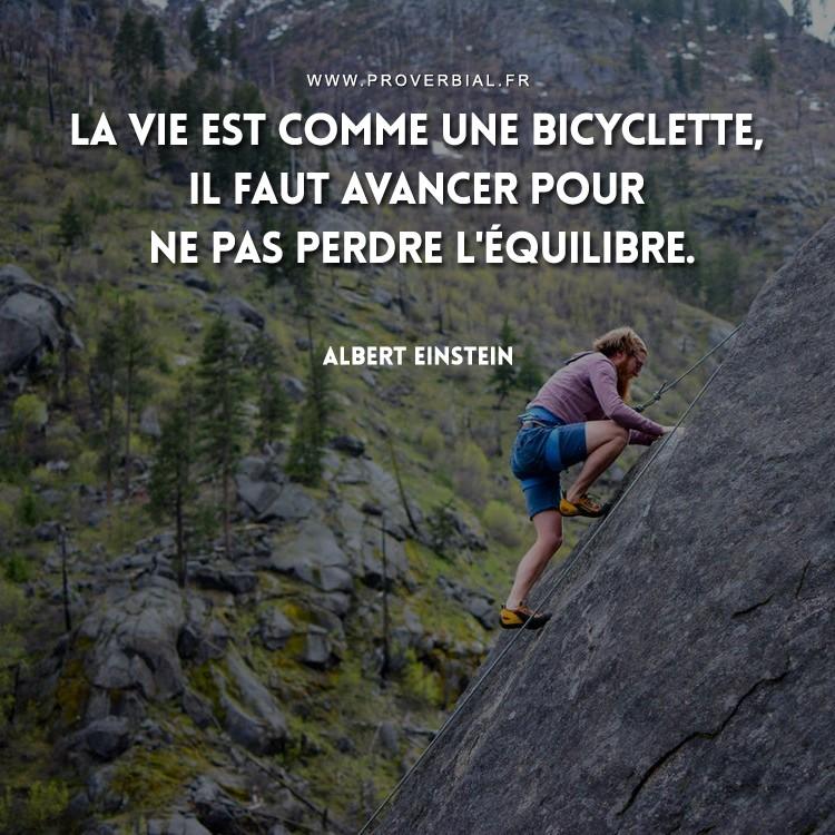 La vie est comme une bicyclette, il faut avancer pour ne pas perdre l'équilibre.