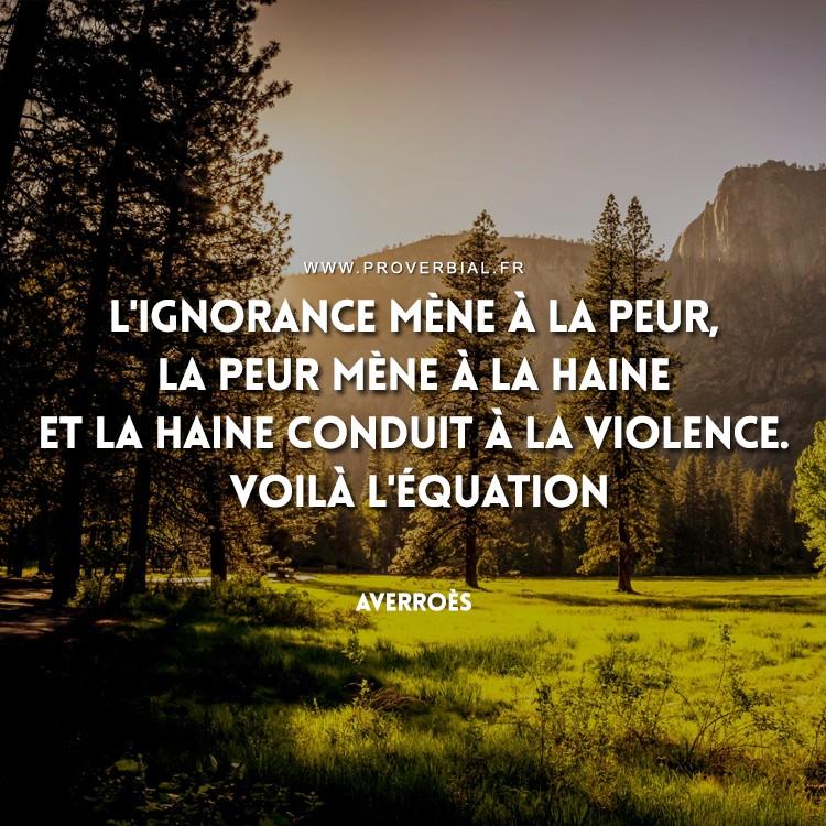 L'ignorance mène à la peur, la peur mène à la haine et la haine conduit à la violence. Voilà l'équation.