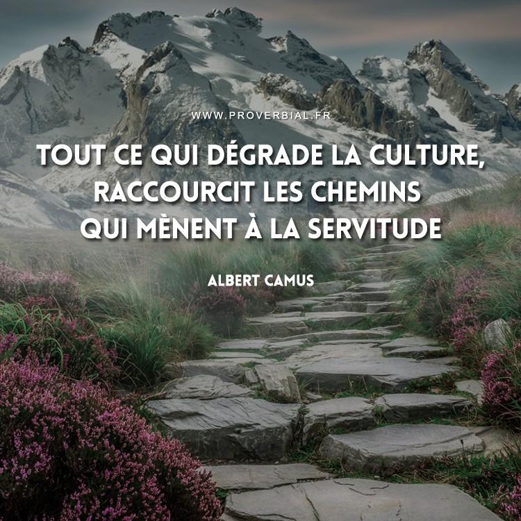 Tout ce qui dégrade la culture, raccourcit les chemins qui mènent à la servitude.