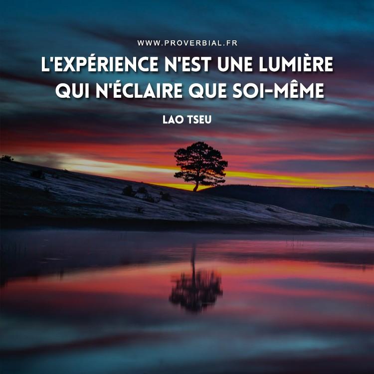 Citation de Lao Tseu sur l'expérience