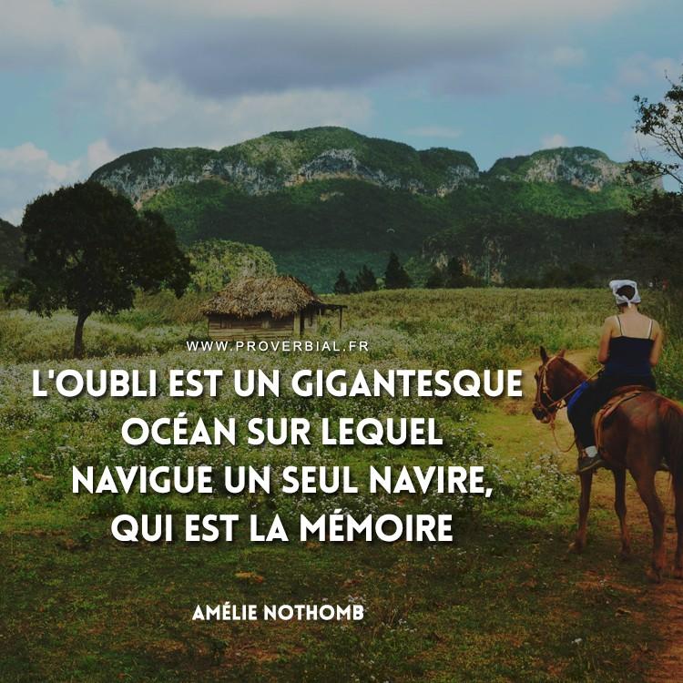L'oubli est un gigantesque océan sur lequel navigue un seul navire, qui est la mémoire.