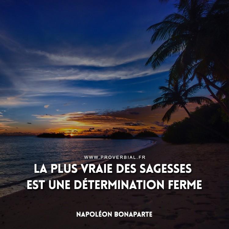 La plus vraie des sagesses est une détermination ferme.