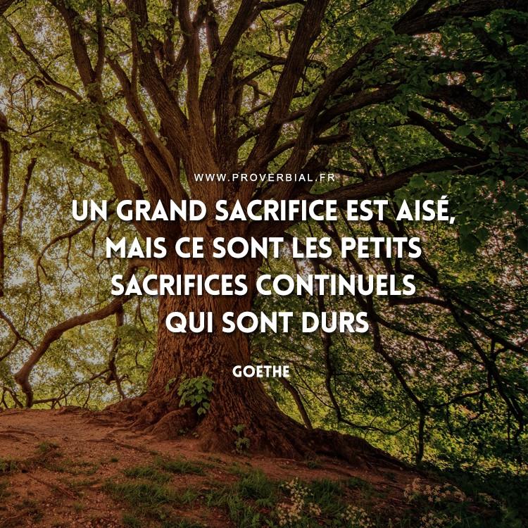 Un grand sacrifice est aisé, mais ce sont les petits sacrifices continuels qui sont durs.