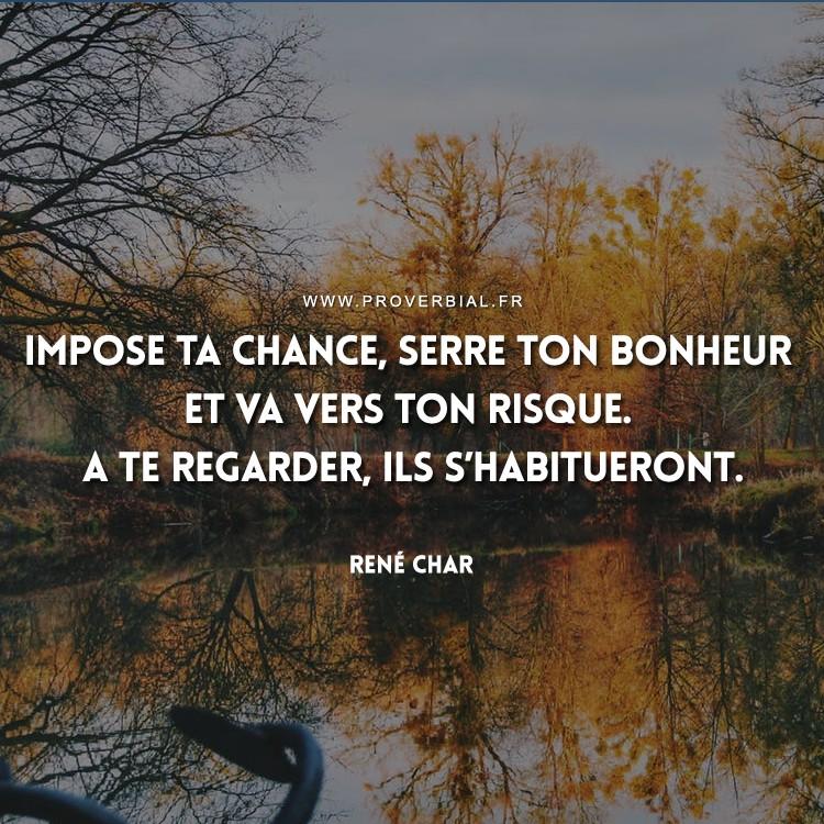 Impose ta chance, serre ton bonheur et va vers ton risque. A te regarder, ils s'habitueront.