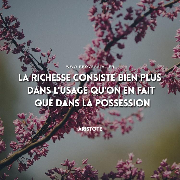 La richesse consiste bien plus dans l'usage qu'on en fait que dans la possession.