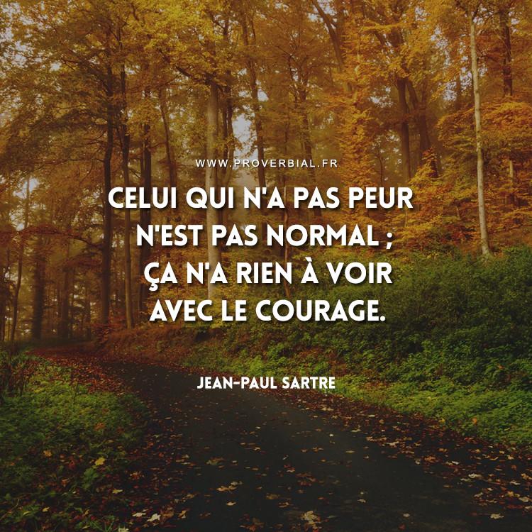Celui qui n'a pas peur n'est pas normal ; ça n'a rien à voir avec le courage.