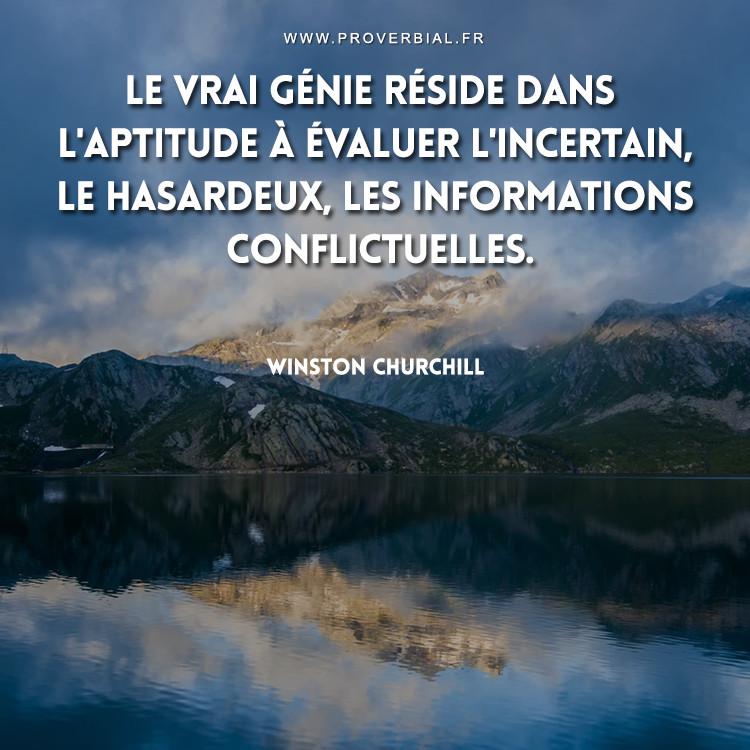 Le vrai génie réside dans l'aptitude à évaluer l'incertain, le hasardeux, les informations conflictuelles.