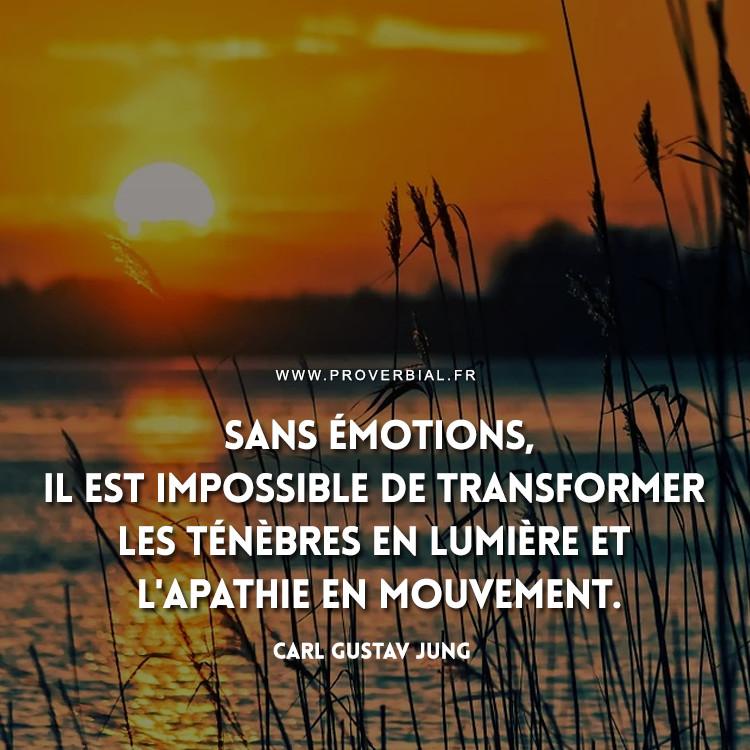 Sans émotions, il est impossible de transformer les ténèbres en lumière et l'apathie en mouvement.