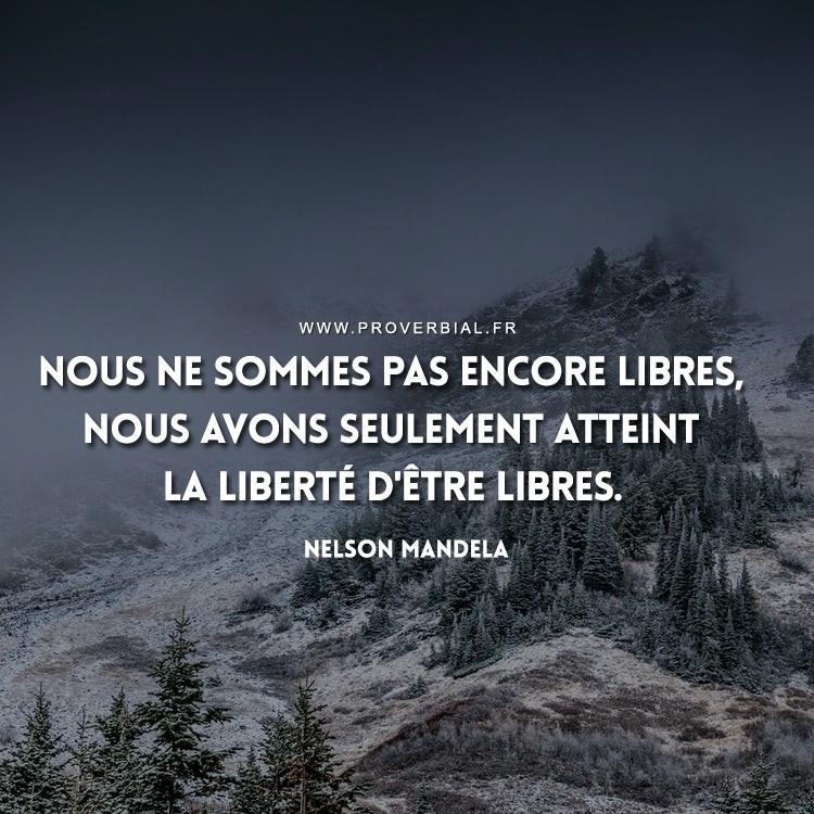 Nous ne sommes pas encore libres, nous avons seulement atteint la liberté d'être libres.
