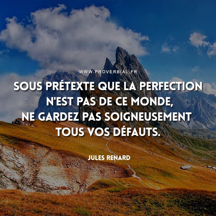 Sous prétexte que la perfection n'est pas de ce monde, ne gardez pas soigneusement tous vos défauts.