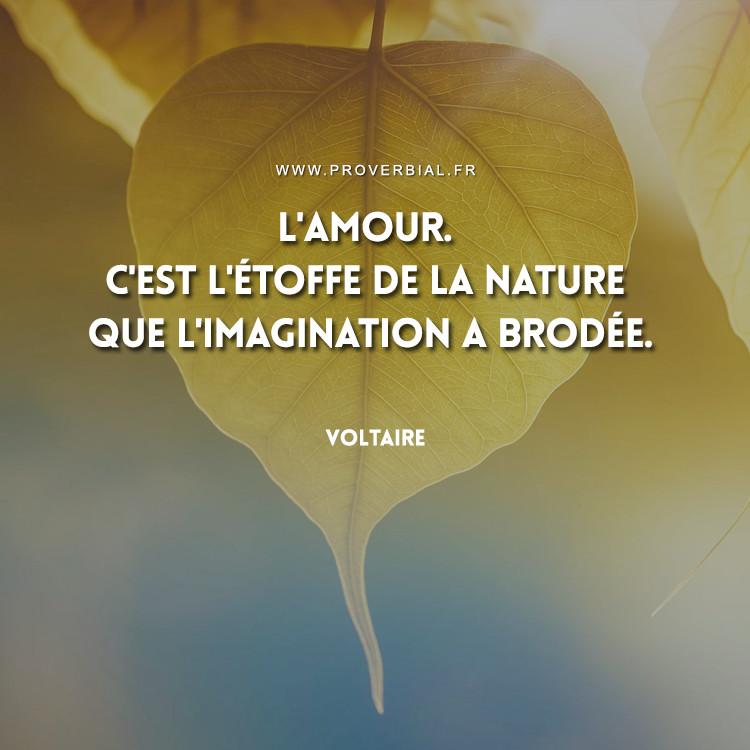 L'amour. C'est l'étoffe de la nature que l'imagination a brodée.